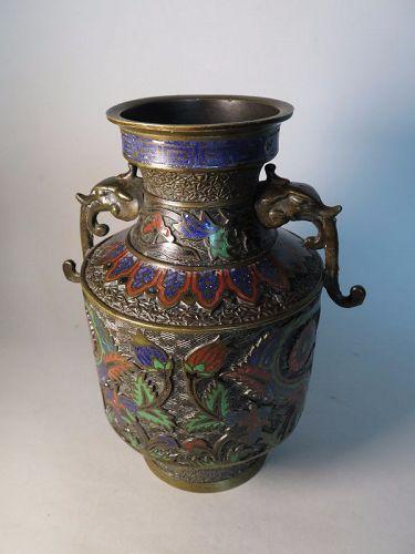 Rare Japanese Cloisonne Bronze Vase with Iznik Style Decoration