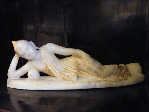 Large Marble Burmese Reclining Buddha, 19th Century