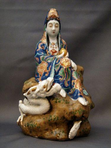 Rare Japanese Porcelain Figure Kannon with Dragon, Meiji (1868 - 1911)