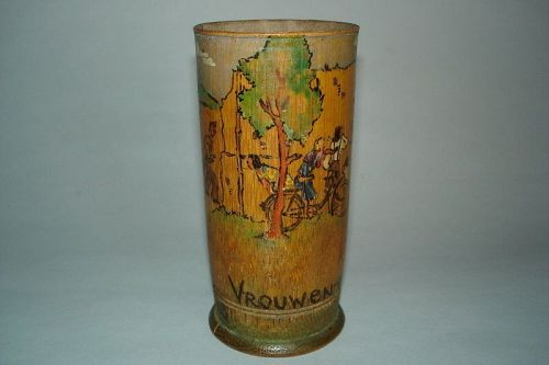 Important Japanese 'Prisoner of War' Painted Bamboo Pot, dated 1943