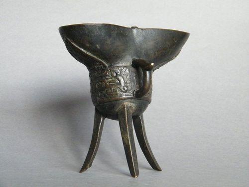 Rare  Bronze Jue Dated 1654 Shunzhi Reign �顺治 �件��记载���� 1654年