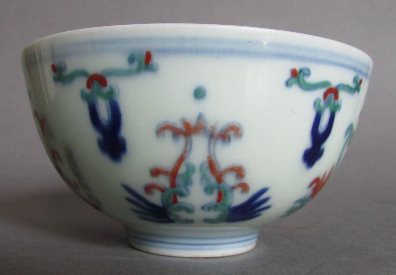 Rare Chinese Porcelain Doucai Bowl, Daoguang Mark & Period (1821-1950)