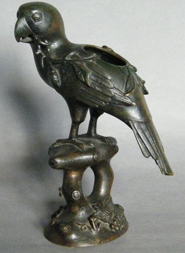 Very Rare Early 17th Century Chinese Bronze Parrot Incense Burner