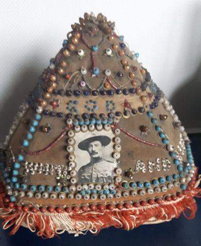 South African Boer War Beaded Pyramid Shaped Pincushion c1899-1902