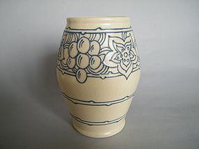 1920s - 1930s Art Deco Rhead Pottery Tube-lined Vase