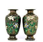 2 Early 20C Chinese Silver Enamel Vase Flower Mk