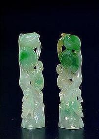 Pair Chinese Jade Jadeite Peach Tree Seal Christies