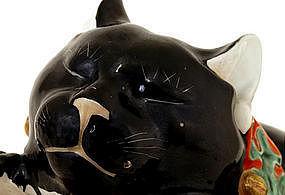 Large Old Japanese Black Kutani Sleeping Cat