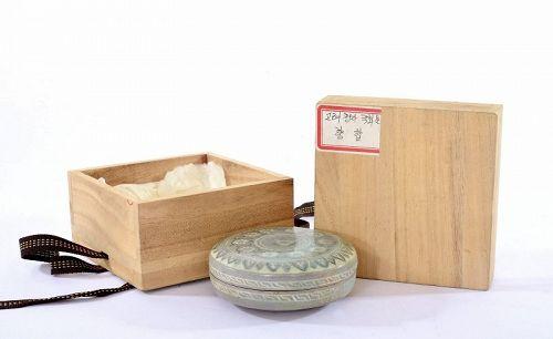 13C Korean Koryo Dynasty Inlaid Celadon-Glazed Covered Box