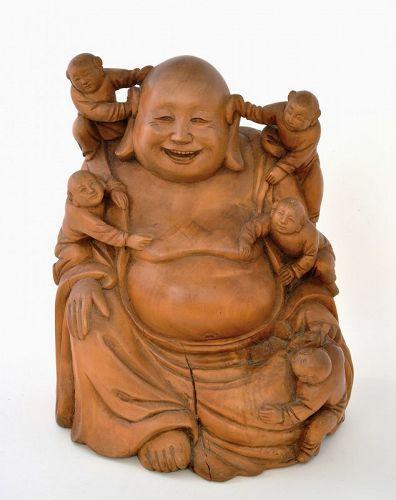 Old Chinese Boxwood Carved Happy Buddha Bodi Figure Figurine