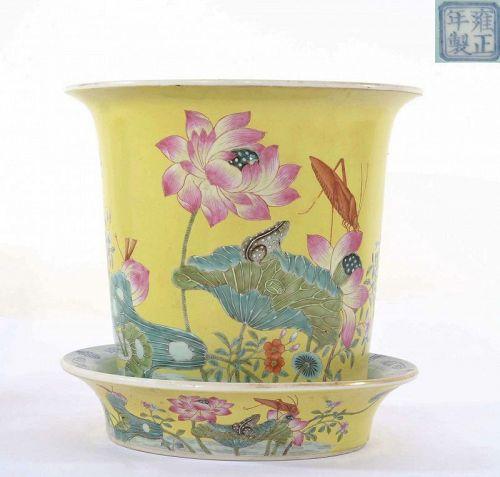 Old Chinese Famille Rose Turquoise Glaze Planter Pot Lotus Flower Mk