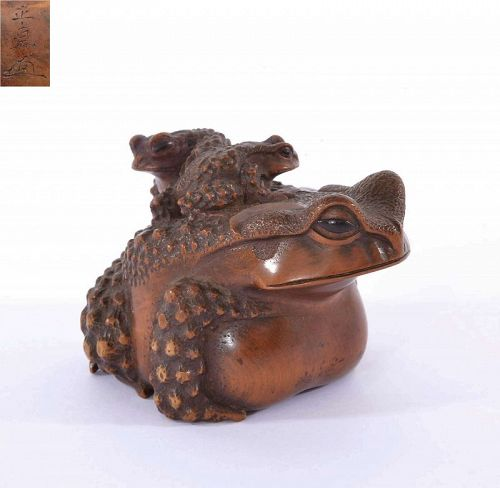19C Japanese Wood Carved Carving 2 Toad Frog Okimono Sg