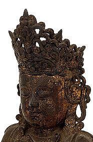 Lg 16C Chinese Gilt Lacquer Bronze Buddha