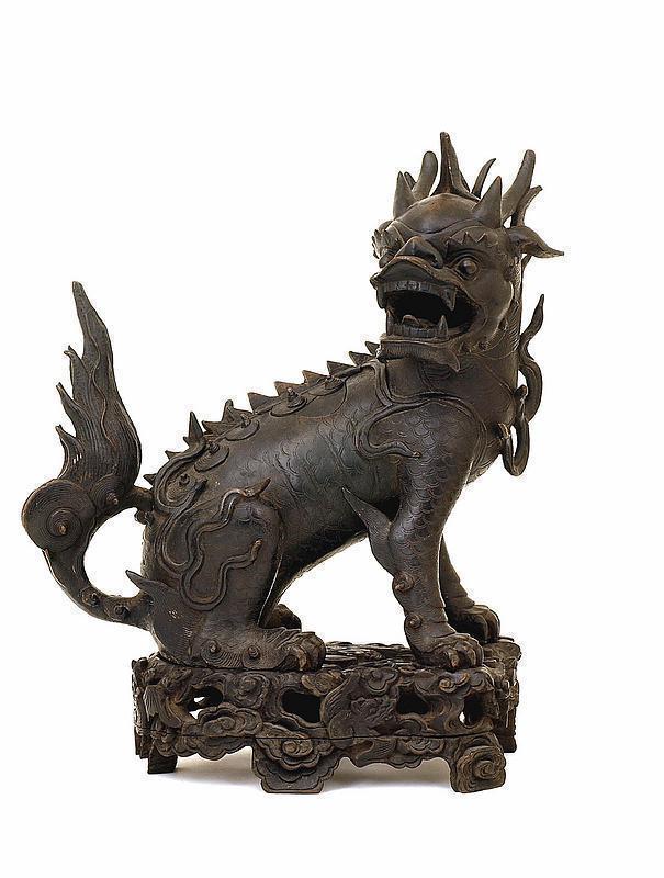 Lg 17C Chinese Bronze Dragon Head Qilin Fu Lion Censer