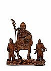 Lg 19C Chinese Bamboo Shoulo & Boy Figurine w Stand