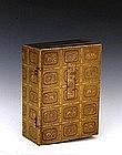 19C Japanese Makie Lacquer Box Book w Dragon