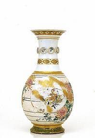Lg Meiji Japanese Makuzu Kozan Studio Vase w Figurine