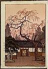 Old Japanese Woodblock Print Yoshida Cheing Blossoms