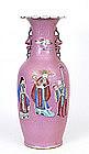 Lg 19C Chinese Pink Famille Rose Vase Figurine Figure