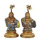 2 19C Chinese Gilt Bronze Cloisonne Happy Buddha Figure