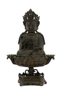16C Chinese Gilt Lacquer Bronze Quan Yin Buddha