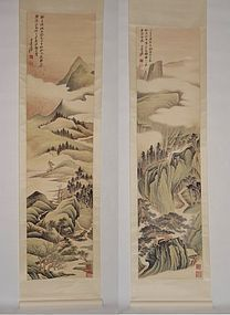 Two Paintings of Verdant Mountains by Zhang Daqian