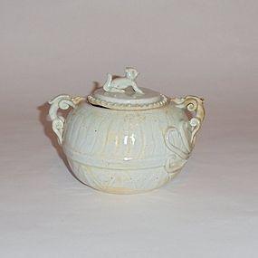 A Qingbai Glazed Covered Jar with Chi-Dragon Handles