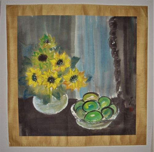Still Life of Sun-Flowers and Apples / Lin Fengmian (1900-1991)