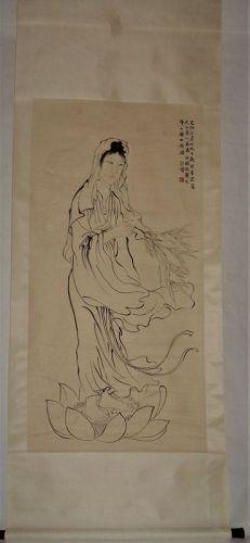 Portrait of Guanyin (Goddess of Mercy) by Xu Beihong (1895-1953)