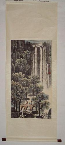 Hanging Scroll of Watching Grand Waterfalls / Li Keran (1907-1989)