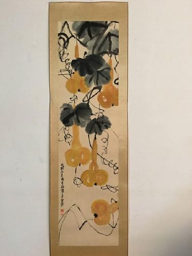 A Mounted Painting of Golden Gourds / Wu Changshuo (1844-1927) of Qing