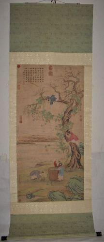 Gu Jianlong (1606-1687) / Hanging Scroll of Children Gathering Fruit