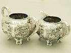 A Fine Pair of Chinese Silver Cream Jug and Sugar Bowl