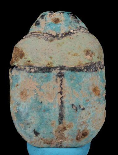 Ancient egyptian Faience blue - green faience scarab. - 6�4.1 cm