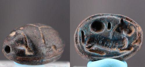 Ancient egyptian black steatite scarab amulet 4,4cm