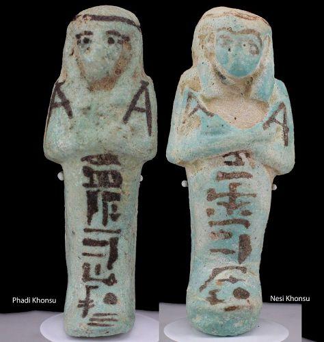 Ancient fayence shabti of Phadi Khonsu & Nesi Khonsu