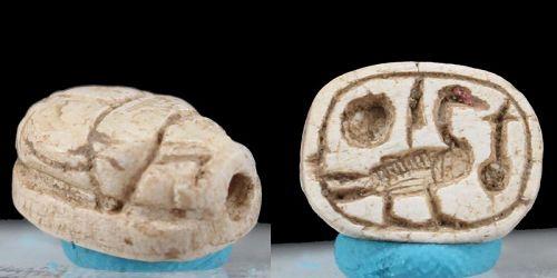 Ancient egyptian steatite white motto scarab 11mm