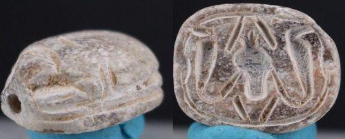 Ancient egyptian steatite white motto scarab 13mm
