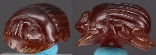 Ancient egyptian carnelian scarab amulet 2,7 cm
