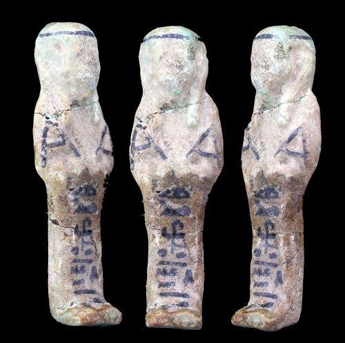 Ancient egyptian faience Shabti 6,8cm.