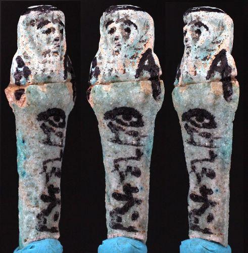 "Ancient egyptian Fayence Shabti ""Osiris; Nes-Tjaw, justified"" 6,5cm."