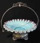 Victorian Silverplate & Satin Glass Bride's Basket