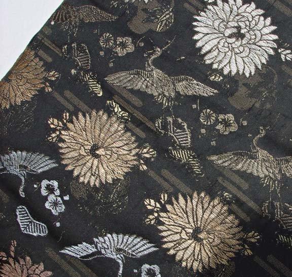 Antique Black Japanese Obi, Cranes and Chrysanthemums