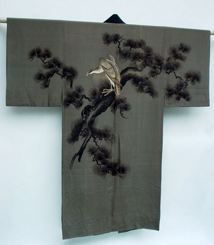 Hawk on Pine Tree on Men's Antique Kimono, Wall Decor
