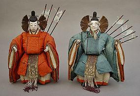Antique Japanese Hina Dolls, Daijin Ningyo