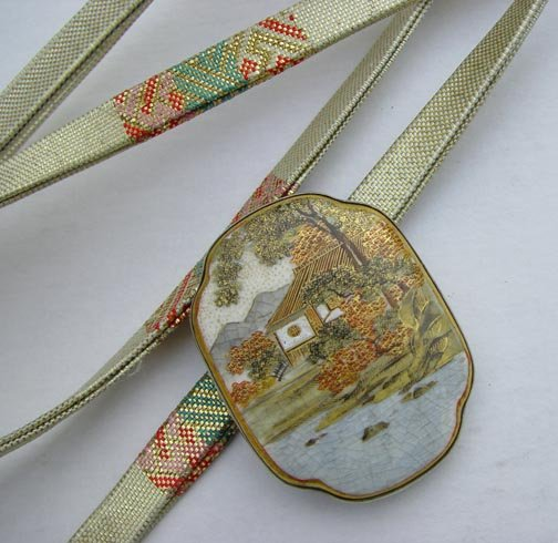 Antique Satsuma Accessory Piece with Silk Tie Belt