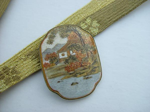 Antique Satsuma Accessory Piece with Silk Tie Belt