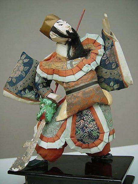 Antique Japanese Doll,  Guan Yu, Green Dragon Halberd