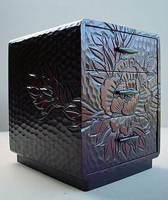 Small Japanese Kamakura-bori Carved Box with Drawers