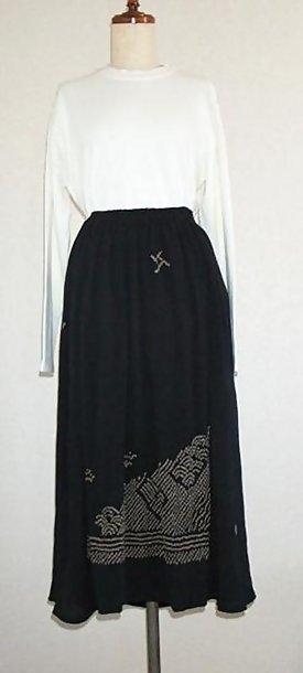 Black Silk Skirt with Shibori Tie-dye